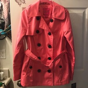 Pink Envelope trench coat with black buttons